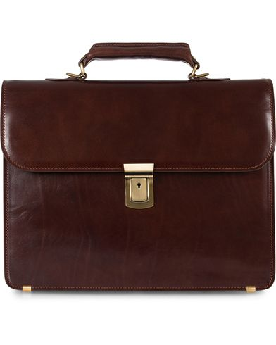 Baron Small Briefcase Brown Leather  i gruppen Tasker / Mappetasker hos Care of Carl (11579110)