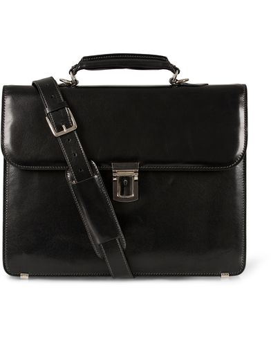 Baron Small Briefcase Black Leather  i gruppen Tilbehør / Tasker / Mappetasker hos Care of Carl (11579210)
