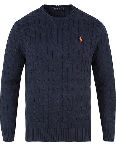 Polo Ralph Lauren Cotton Cable Crew Neck Pullover Hunter Navy i gruppen Tröjor hos Care of Carl (11594311r)