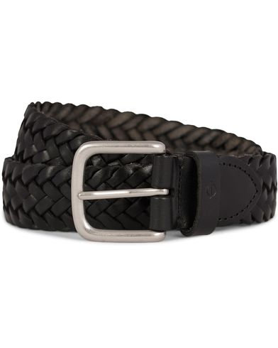 Oscar Jacobson Braided Leather Belt 3,5 cm Black i gruppen Accessoarer / Bälten / Flätade bälten hos Care of Carl (11603011r)