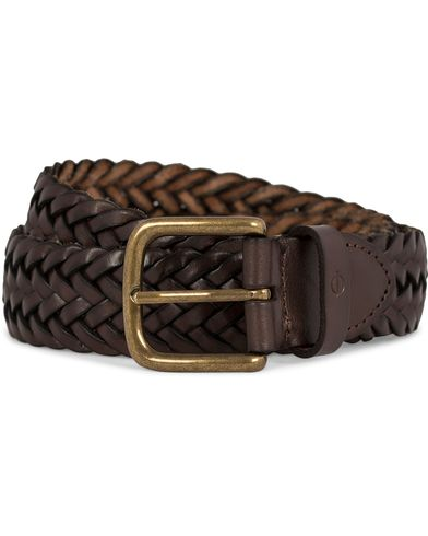 Oscar Jacobson Braided Leather Belt 3,5 cm Dark Brown i gruppen Tilbehør / Bælter / Flettede bælter hos Care of Carl (11603111r)
