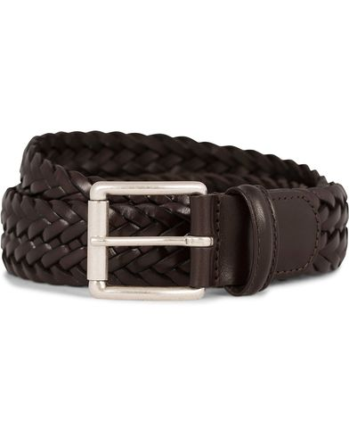 Anderson's Braided Leather Belt 3,5 cm Brown i gruppen Accessoarer / Bälten hos Care of Carl (11614311r)