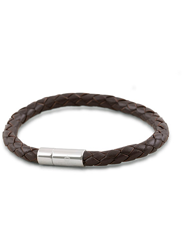 Skultuna One Row Leather Bracelet Dark Brown Steel i gruppen Accessoarer / Armband hos Care of Carl (11630411r)