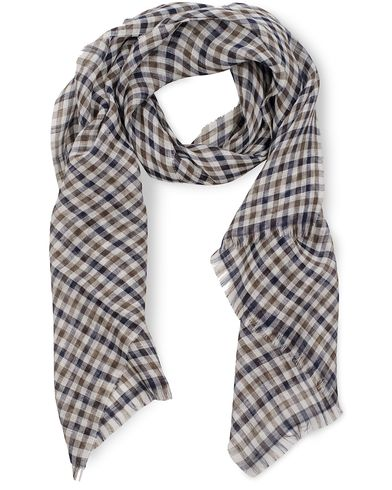 Aquascutum Denins Club Check Linen Scarf Vicuna  i gruppen Assesoarer / Scarves hos Care of Carl (11727110)