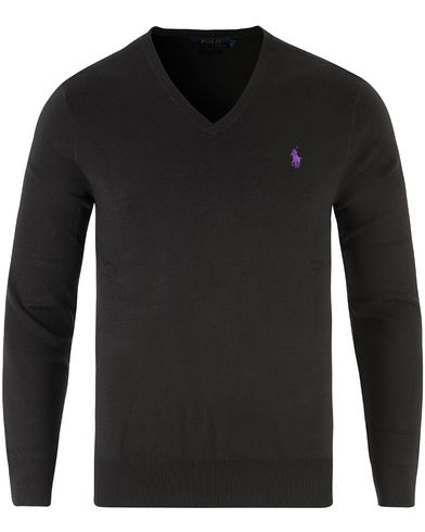 Polo Ralph Lauren Pima Cotton V-Neck Pullover Black i gruppen Design A / Trøjer / Pullovere / Pullovers med  v-hals hos Care of Carl (11768111r)