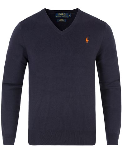 Polo Ralph Lauren Pima Cotton V-Neck Pullover Navy i gruppen Trøjer / Pullovere / Pullovers med  v-hals hos Care of Carl (11768211r)
