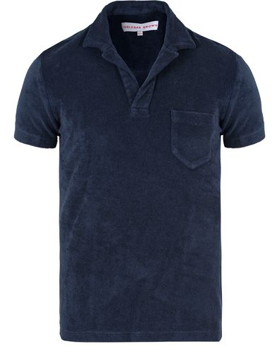 Orlebar Brown Terry Polo Navy i gruppen Pikéer / Kortärmade pikéer hos Care of Carl (11790111r)