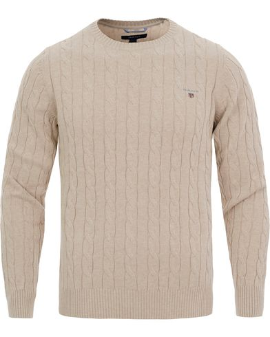 GANT Cotton Cable Crew Pullover Light Sand Melange i gruppen Gensere / Strikkede gensere hos Care of Carl (11807811r)
