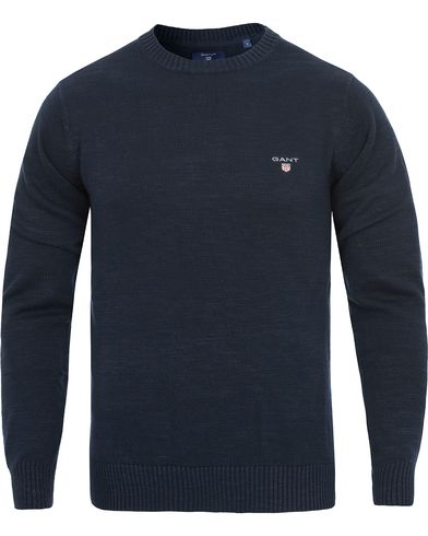 GANT Natural Cotton Crew Neck Pullover Evening Blue i gruppen Tr�jor / Pullover / Pullover Rundhals hos Care of Carl (11808511r)