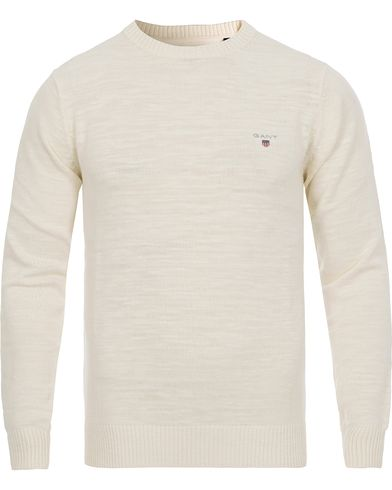 GANT Natural Cotton Crew Neck Pullover Cream i gruppen Trøjer / Pullovere / Pullovers med rund hals hos Care of Carl (11808711r)