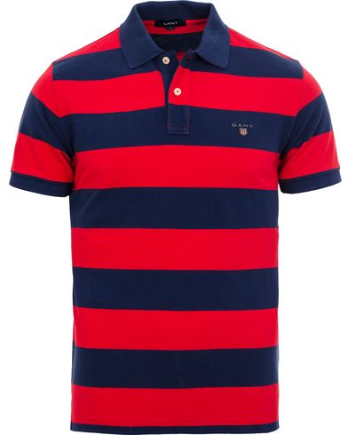 GANT Barstripe Pique Rugger Bright Red i gruppen Pikéer / Kortärmade pikéer hos Care of Carl (11813911r)
