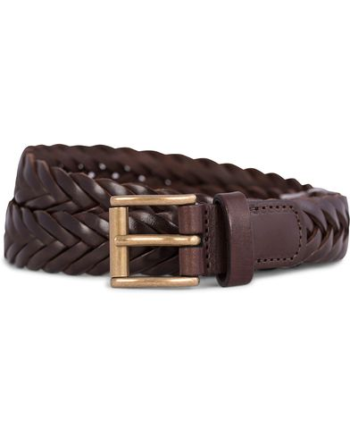 Anderson's Thin Braided 2,5 cm Leather Belt Dark Brown i gruppen Accessoarer / Bälten / Flätade bälten hos Care of Carl (11871811r)