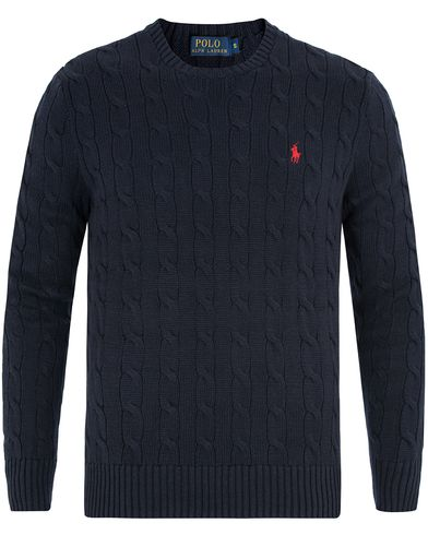 Polo Ralph Lauren Cotton Cable Crew Neck Hunter Navy i gruppen Trøjer / Strikkede trøjer hos Care of Carl (11925011r)