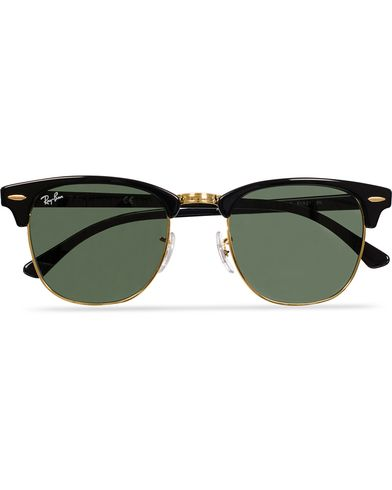 Ray-Ban Clubmaster Sunglasses Ebony/Crystal Green  i gruppen Solbriller / Buede solbriller hos Care of Carl (11948910)