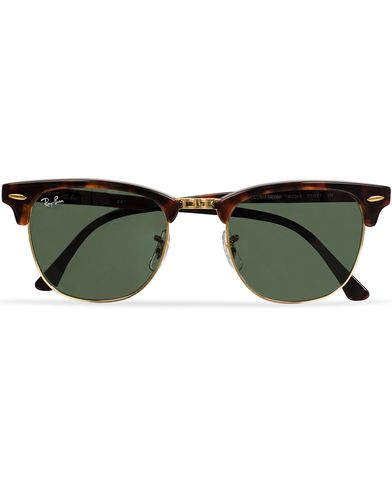 Ray-Ban Clubmaster Sunglasses Mock Tortoise/Crystal Green  i gruppen Accessoarer / Solglasögon / D-formade solglasögon hos Care of Carl (11949010)
