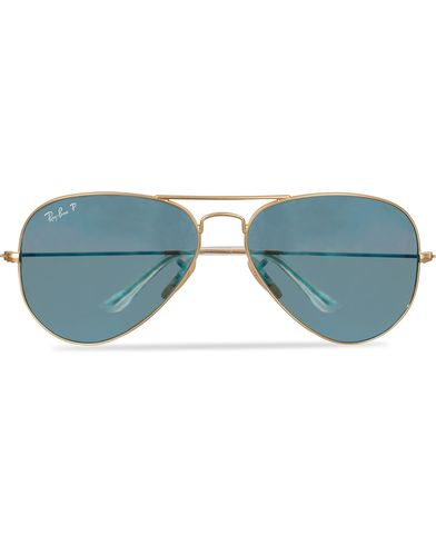 Ray-Ban Aviator Large Metal Polarized Sunglasses Gold/Blue i gruppen Solglasögon / Pilotsolglasögon hos Care of Carl (11949110)