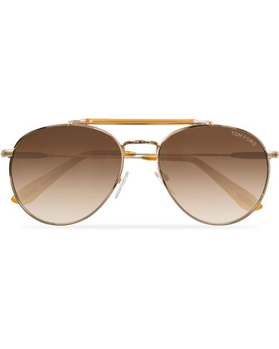 Tom Ford Colin FT0338 Metal Sunglasses Gold/Brown i gruppen Tilbehør / Solbriller / Pilotsolbriller hos Care of Carl (11955010)