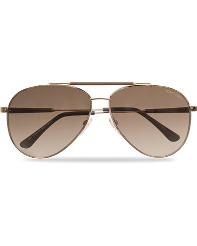Tom Ford Rick FT0378 Metal Sunglasses Gold/Brown i gruppen Solglasögon / Pilotsolglasögon hos Care of Carl (11955610)
