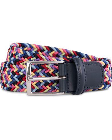 Anderson's Elastic Textile Belt 3,5 cm Multi Black i gruppen Design A / Tilbehør / Bælter / Flettede bælter hos Care of Carl (11962011r)