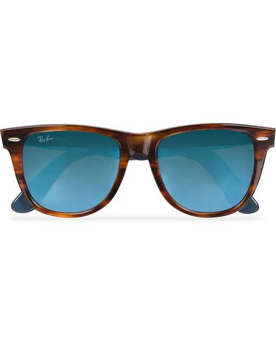 Ray-Ban Original Wayfarer Sunglasses Striped Havana/Mirror Blue  i gruppen Solbriller / Buede solbriller hos Care of Carl (11964810)