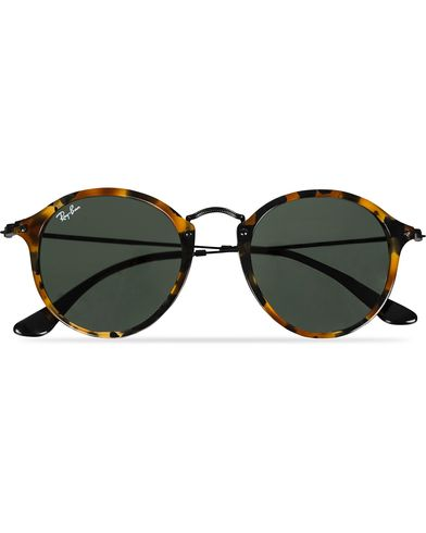 Ray-Ban RB2447 Acetat Round Sunglasses Spotted Black Havana/Green  i gruppen Solbriller hos Care of Carl (11965010)