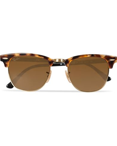 Ray-Ban Clubmaster Sunglasses Spotted Brown Havana/Brown  i gruppen Solbriller / Buede solbriller hos Care of Carl (11965110)