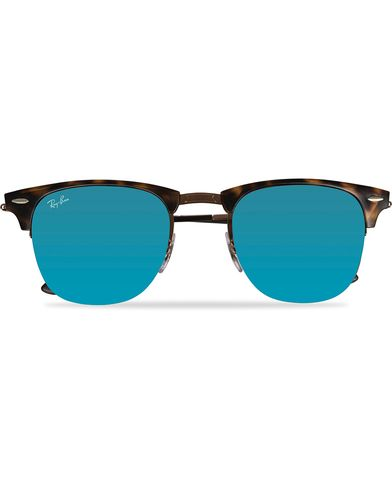 Ray-Ban Clubmaster Sunglasses Shiny Light Brown/Mirror Blue  i gruppen Solglas�gon hos Care of Carl (11965510)