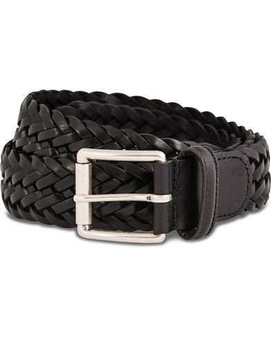 Anderson's Braided Leather Belt 3,5 cm Black i gruppen Accessoarer / Bälten / Flätade bälten hos Care of Carl (11970511r)