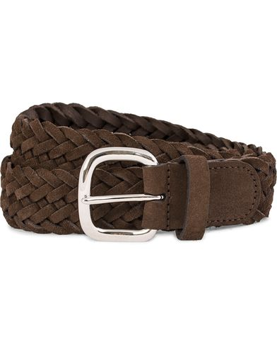 Anderson's Braided Suede Belt 3,5 cm Brown i gruppen Tilbehør / Bælter / Flettede bælter hos Care of Carl (11970611r)