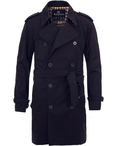 Aquascutum Corby Double Breasted Trenchcoat Navy i gruppen Jakker / Frakker hos Care of Carl (11986211r)