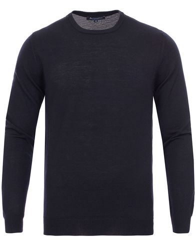 Aquascutum Rolfe Club Check Shoulder Crew Neck Knit Navy i gruppen Gensere / Pullover / Pullovere rund hals hos Care of Carl (11987011r)
