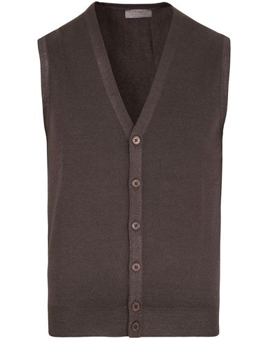 Gran Sasso Merino Fashion Fit Vintage Gilet Brown i gruppen Gensere / Slipover hos Care of Carl (12048711r)