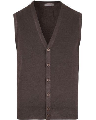 Gran Sasso Merino Fashion Fit Vintage Gilet Brown i gruppen Kläder / Tröjor / Slipovers hos Care of Carl (12048711r)