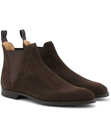 Crockett & Jones Chelsea 8 Boot Dark Brown Suede i gruppen Skor / Kängor / Chelsea boots hos Care of Carl (12051011r)