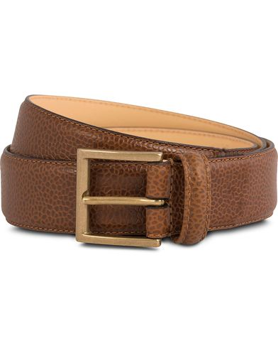 Crockett & Jones Belt 3,5 cm Tan Grained Calf i gruppen Design A / Tilbehør / Bælter / Blanke bælter hos Care of Carl (12051311r)