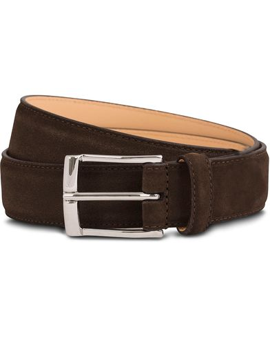 Crockett & Jones Belt 3,2 cm Dark Brown Suede i gruppen Accessoarer / Bälten / Släta bälten hos Care of Carl (12051511r)
