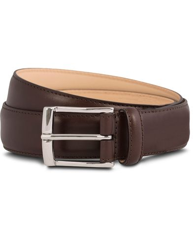 Crockett & Jones Belt 3,2 cm Dark Brown Calf i gruppen Accessoarer / Bälten / Släta bälten hos Care of Carl (12051611r)
