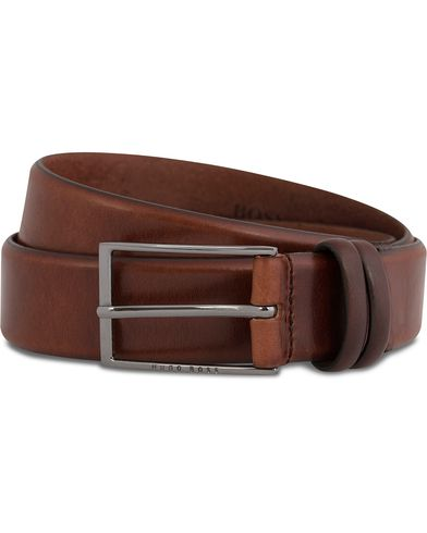 BOSS Carmello Leather Belt 3,5 cm Medium Brown i gruppen Tilbehør / Bælter / Blanke bælter hos Care of Carl (12066811r)