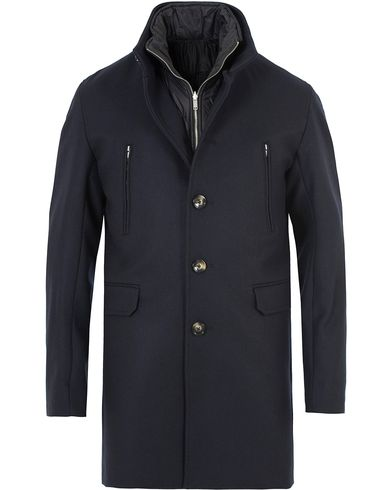 J.Lindeberg Gavin 56 Stand Up Collar Melton Coat Dark Navy i gruppen Kläder / Jackor / Vinterjackor hos Care of Carl (12083811r)