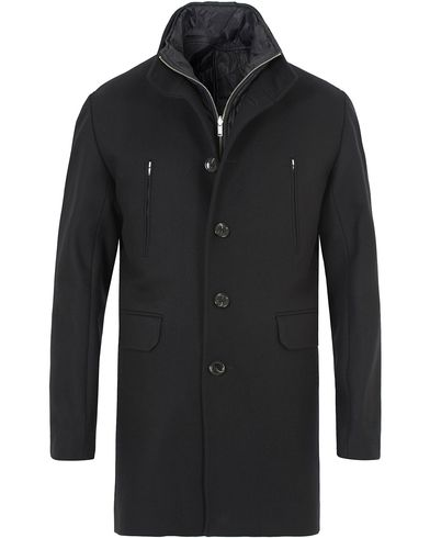 J.Lindeberg Gavin 56 Stand Up Collar Melton Coat Black i gruppen Jakker / Vinterjakker hos Care of Carl (12083911r)