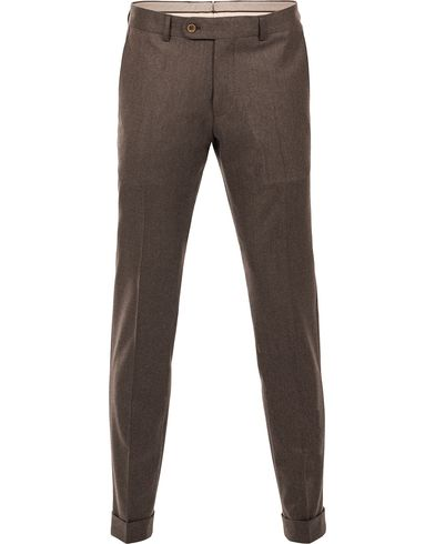 Morris Heritage Fred 120's Light Flannel Trousers Brown i gruppen Kläder / Byxor hos Care of Carl (12096311r)