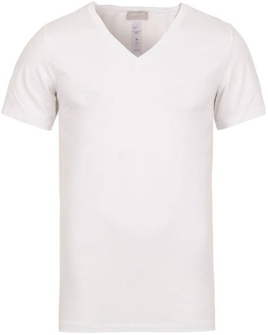 HANRO Cotton Superior V-Neck T-Shirt White i gruppen T-Shirts / Kortermede t-shirts hos Care of Carl (12144411r)