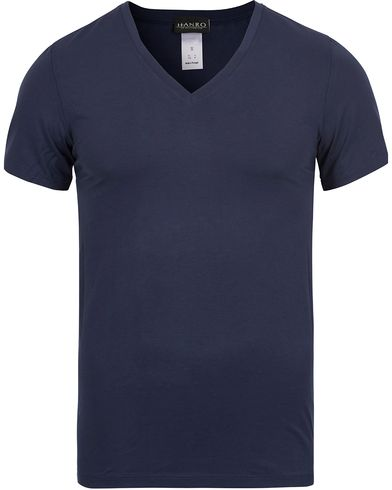 HANRO Cotton Superior V-Neck T-Shirt Midnight Navy i gruppen T-Shirts / Kortärmade t-shirts hos Care of Carl (12144511r)