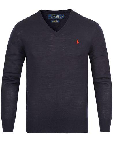 Polo Ralph Lauren Merino V-Neck Pullover Navy i gruppen Tröjor / Pullovers / V-ringade pullovers hos Care of Carl (12167811r)