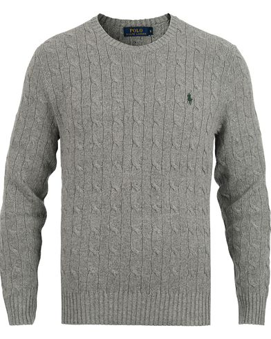 Polo Ralph Lauren Crew Neck Cable Tussah Silk Pullover Grey i gruppen Tröjor / Stickade tröjor hos Care of Carl (12168811r)