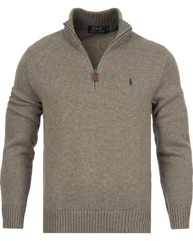 Polo Ralph Lauren Cotton Half Zip Fawn Grey Heather i gruppen Kläder / Tröjor / Zip-tröjor hos Care of Carl (12170011r)