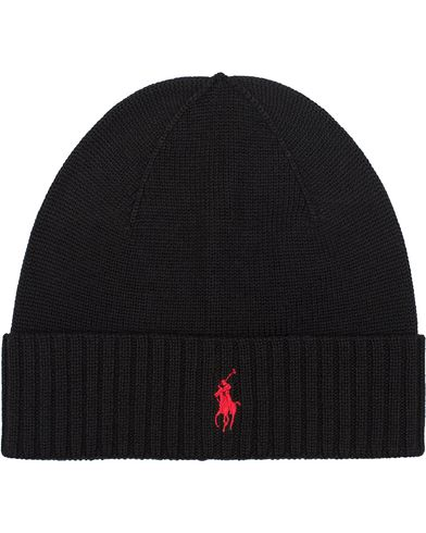 Polo Ralph Lauren Merino Cap Polo Black  i gruppen Accessoarer / Mössor hos Care of Carl (12181410)