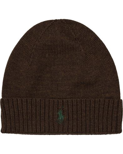 Polo Ralph Lauren Merino Cap Dark Brown Heather  i gruppen Accessoarer / Mössor hos Care of Carl (12181510)