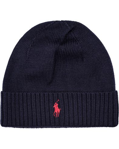 Polo Ralph Lauren Merino Cap Hunter Navy  i gruppen Accessoarer / M�ssor hos Care of Carl (12181910)