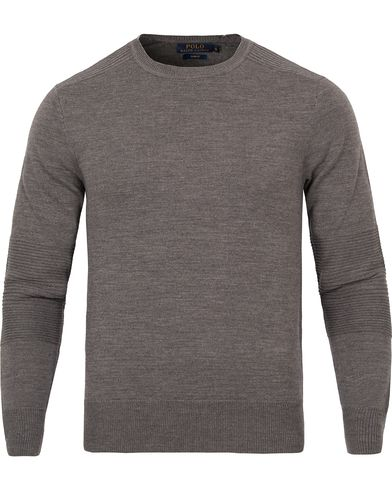 Polo Ralph Lauren Stitch Detail Merino Sweater Grey Heather i gruppen Tr�jor / Pullover / Pullover Rundhals hos Care of Carl (12200511r)